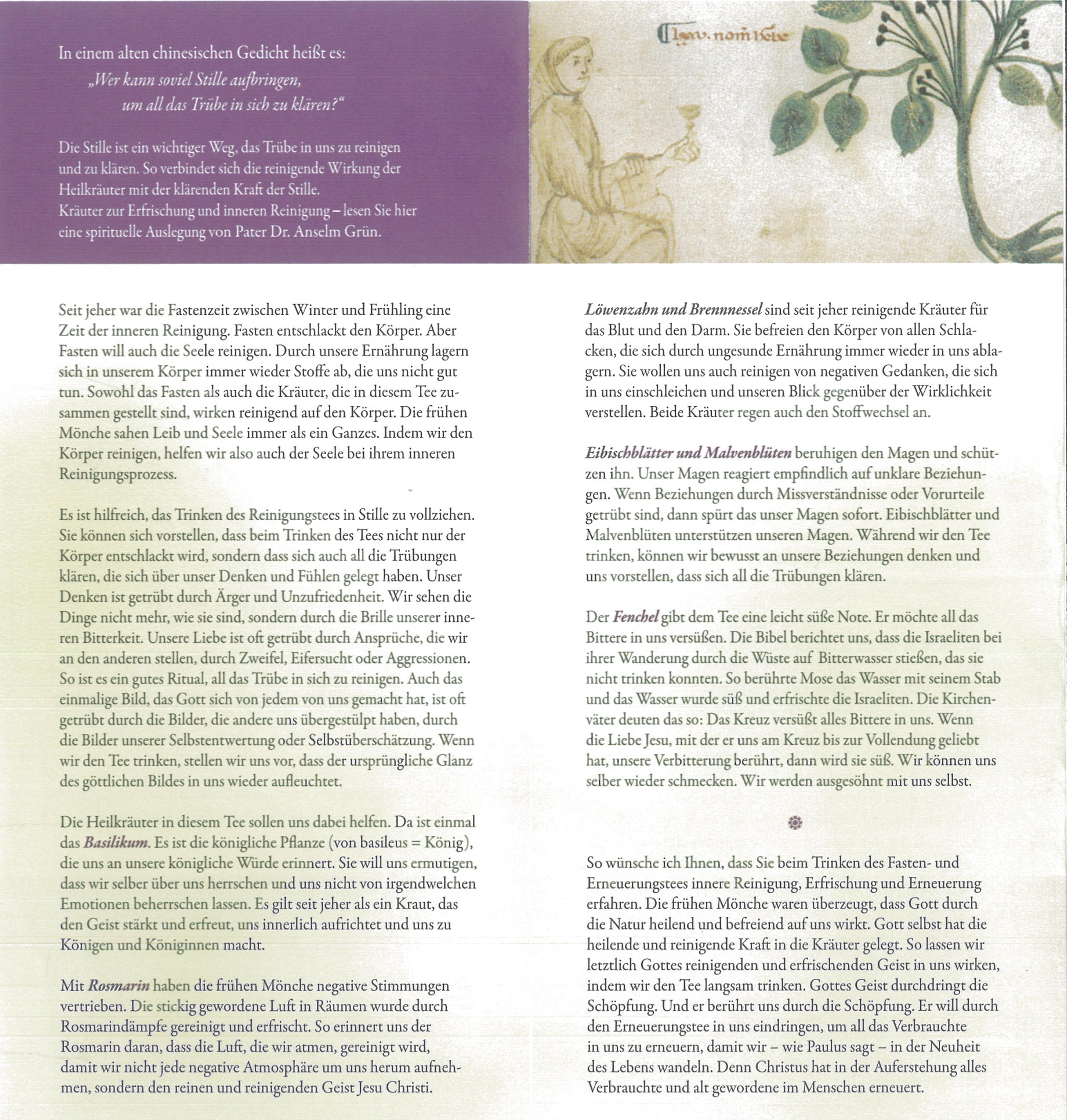Fasten Und Erneuerungstee St Benedikt