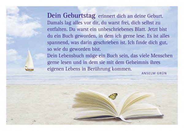 """Glückwunschkarte """"Lebensbuch"""" mit Glückwunsch von Anselm Grün"""