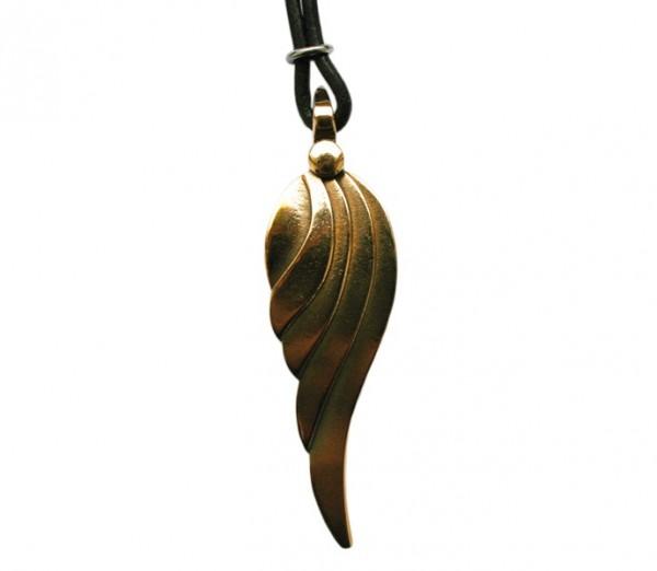 Schmuckanhänger Engelsflügel Bronze mit Lederband