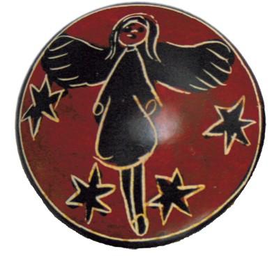 Speckstein-Handschmeichler Schutzengel klein rot