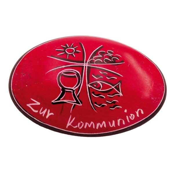 """Handschmeichler """"Zur Kommunion"""" in rot"""