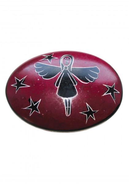 Speckstein-Handschmeichler Schutzengel oval rot