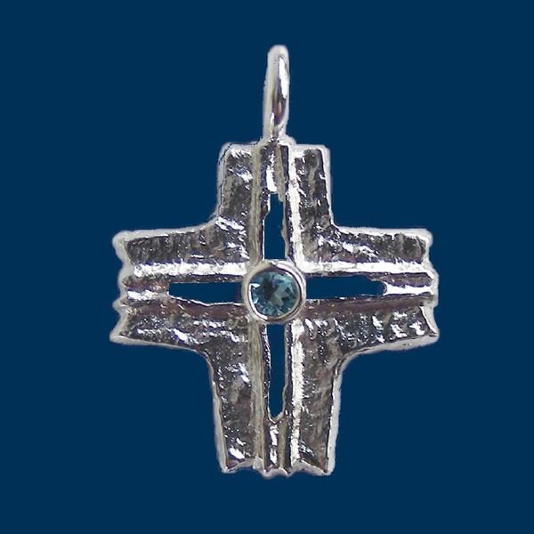 Schmuckanhänger Abteikreuz klassisch mit Stein
