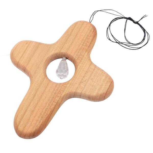 Kleines Holzkreuz mit Swarovski-Kristall