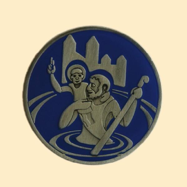 Plakette Christophorus blau
