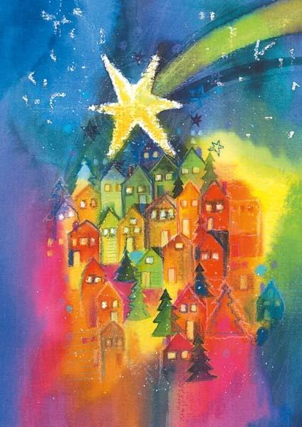 """Weihnachts-Doppelkarte """"Stern über der Stadt"""""""
