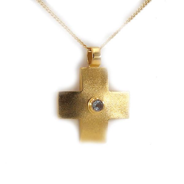 """Schmuckanhänger """"gleichschenkliges Kreuz mit Stein, vergoldet"""""""