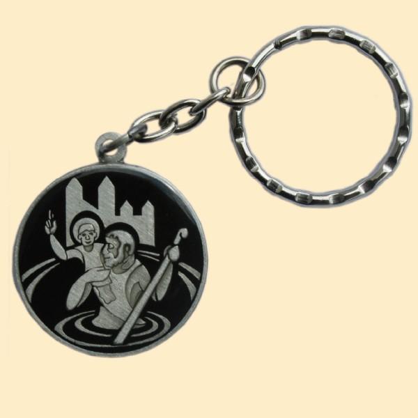 Schlüsselanhänger Christophorus schwarz